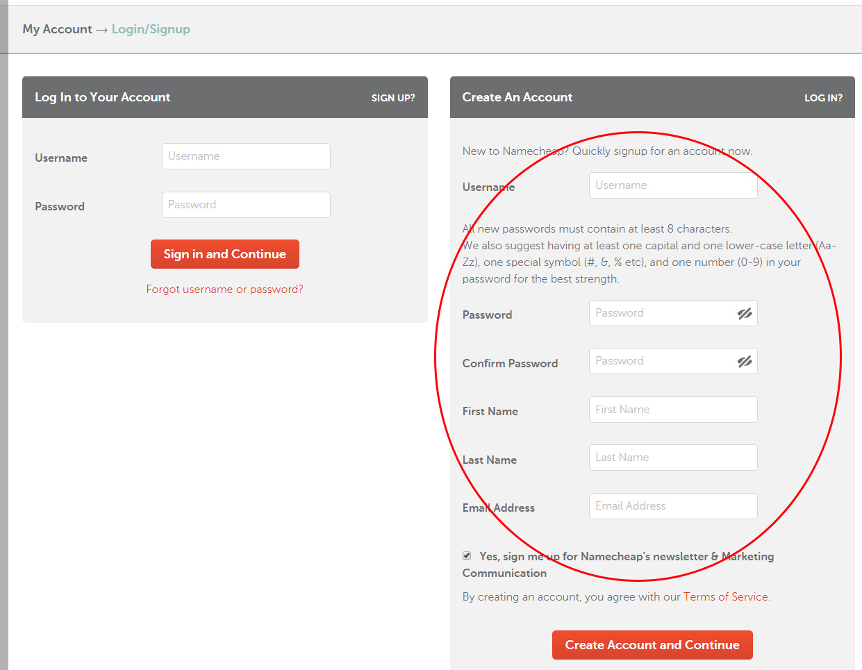 create a namecheap account or login using account by prathilaba tutorials