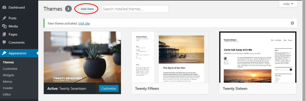 install-a-new-wordpress-theme-wordpress - Tutorial by prathilaba Sri Lanka
