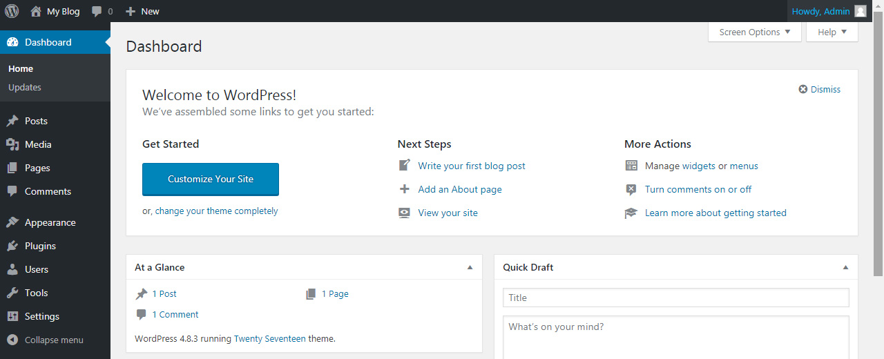 wordpress dashboard after installing wordpress for the first time - Tutorial by prathilaba Sri Lanka