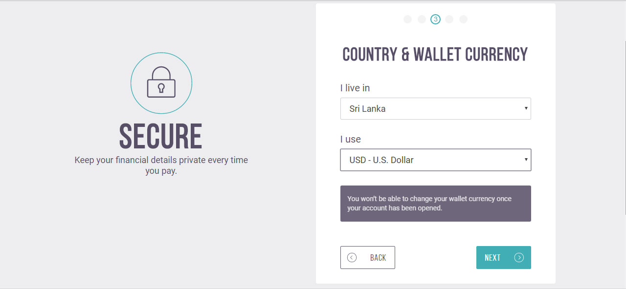 Country and e wallet currency Step - Skrill ewallet opening account tutorial in English by Prathilaba