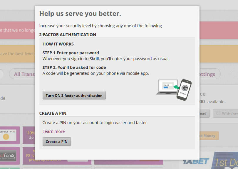 Security PIN and 2 factor authentication popup step - Skrill ewallet opening account tutorial in English by Prathilaba