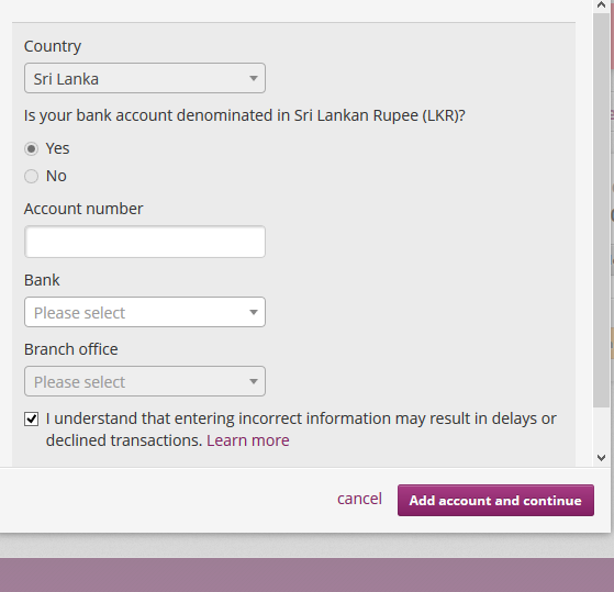 Enter bank account number and bank name with brnach - Skrill ewallet opening account tutorial in English by Prathilaba