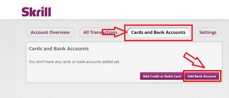 choose adding bank account to receive revenue - Skrill ewallet opening account tutorial in English by Prathilaba