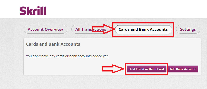 add master visa credit or debit cards - Skrill ewallet opening account tutorial in English by Prathilaba