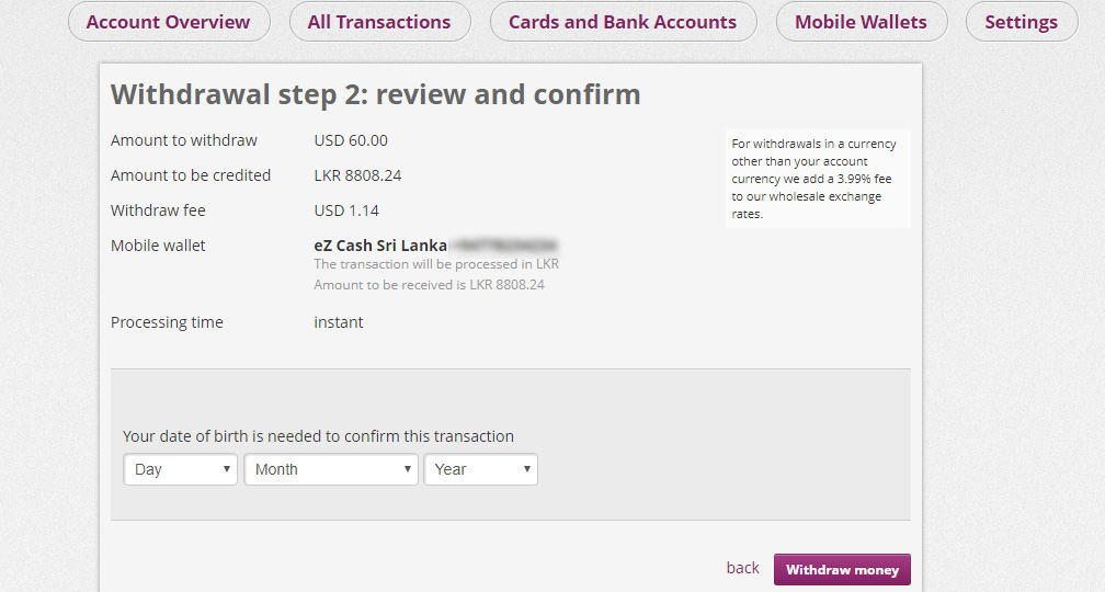ezcash withdrawal amount in skrill in sinhala