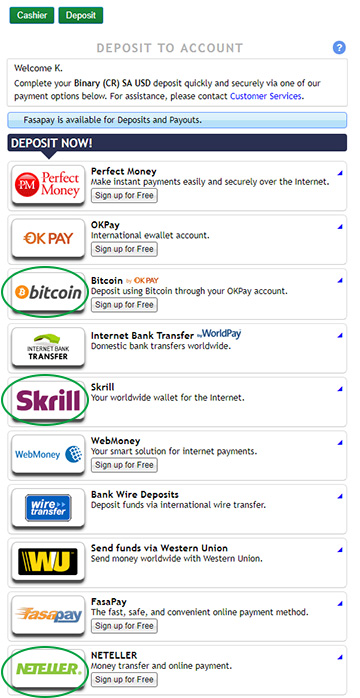 choose deposit wallet type in binary.com live account in sinhala Sri Lanka