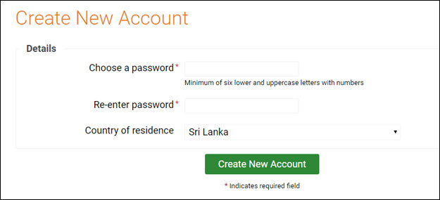 Create password in binary.com account in English Sri Lanka